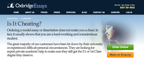 A screenshot from the Oxbridge Essays' site