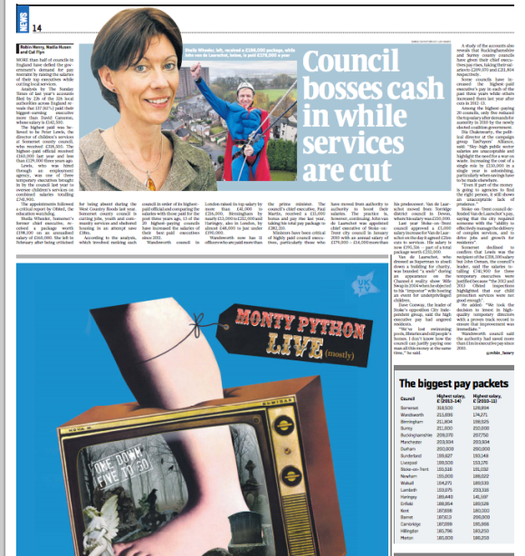 Council bosses cash in - Sunday Times July 2014