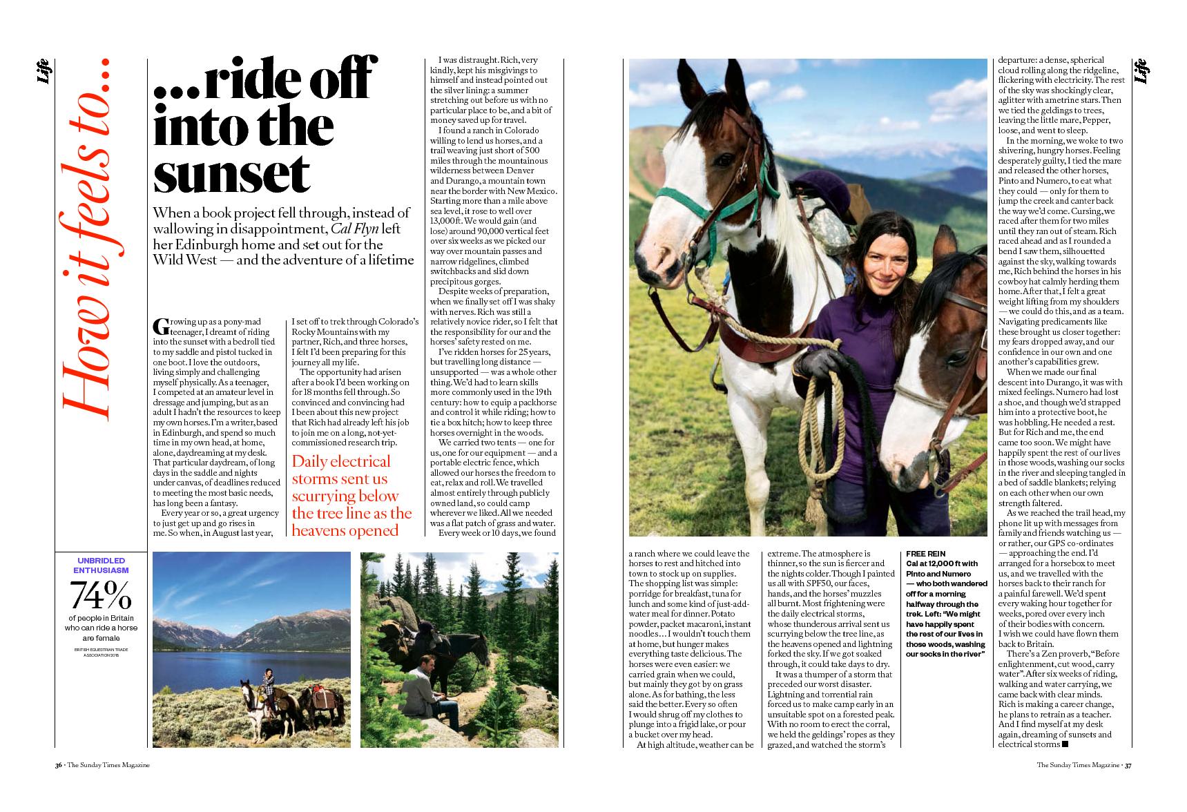 Sunday Times Magazine - Riding into the Sunset